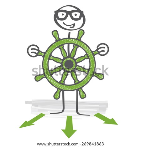 The captain holds the steering wheel in his hands - stock vector