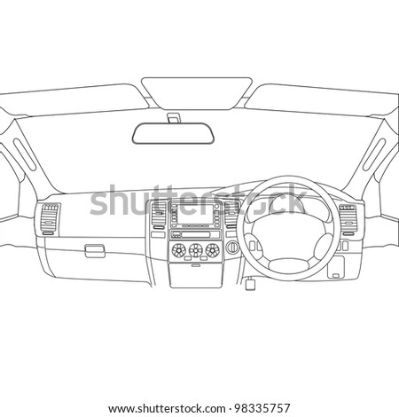 The car without a driver on the road. - stock vector