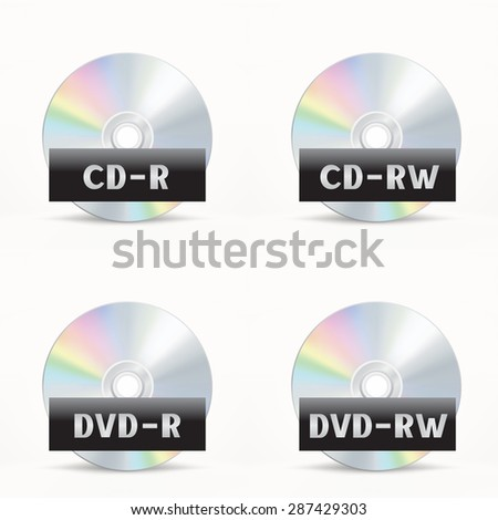 The CD-DVD disc icon set on the white background - stock vector