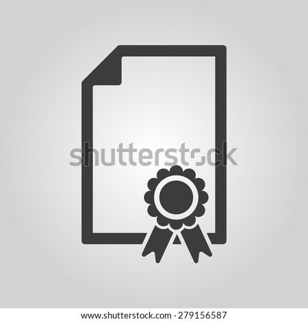 The certificate icon. Diploma symbol. Flat Vector illustration - stock vector