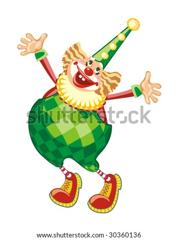 The cheerful clown, vector - stock vector