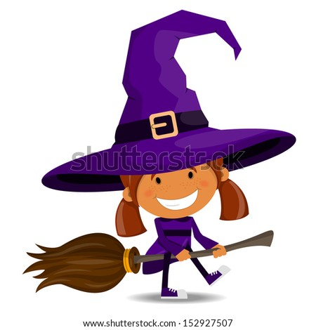 The cheerful girl in a suit of the witch. Halloween theme - stock vector