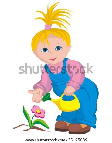 The child - gardener - stock vector
