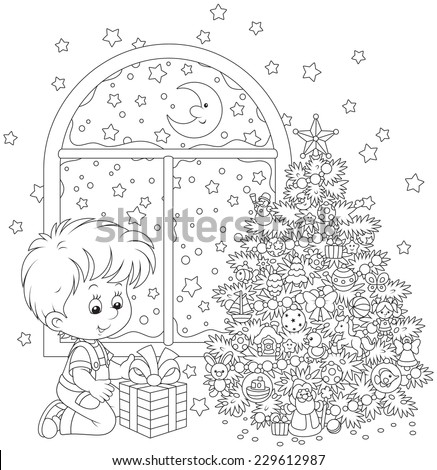The Christmas night, a little boy with his gift and Christmas tree - stock vector