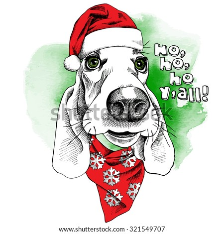 The christmas poster dog Basset Hound portrait in the Santas hat and glasses. Vector illustration. - stock vector