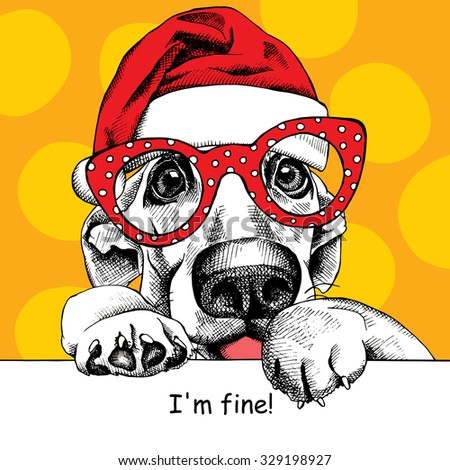 The christmas poster dog portrait in the Santas hat and glasses. Vector illustration. - stock vector