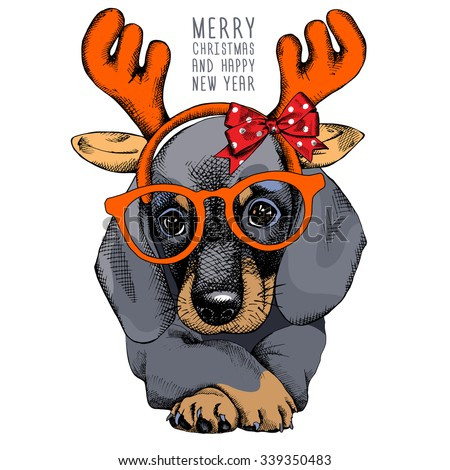 The christmas poster with the portrait of the dog Dachshund in the mask Santa's antler reindeer. Vector illustration. - stock vector