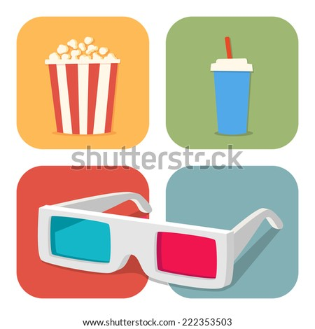 The cinematic illustration. Movie showing with Popcorn, drinks and 3D Stereo Glasses - stock vector