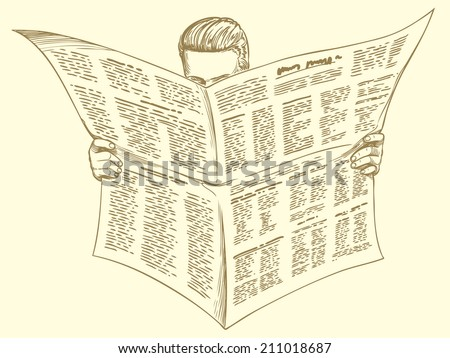 the client reads a news article in the morning newspaper. Monochrome Engraving. Vector illustration 8 eps  - stock vector