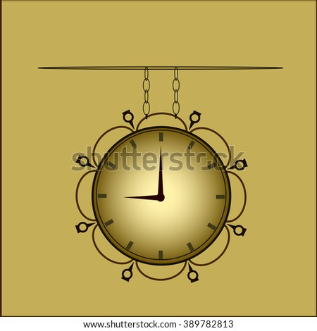 The clock in the old style - stock vector