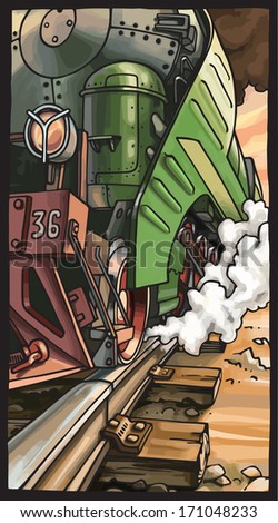 The close-up vector illustration of the moving steam locomotive. - stock vector