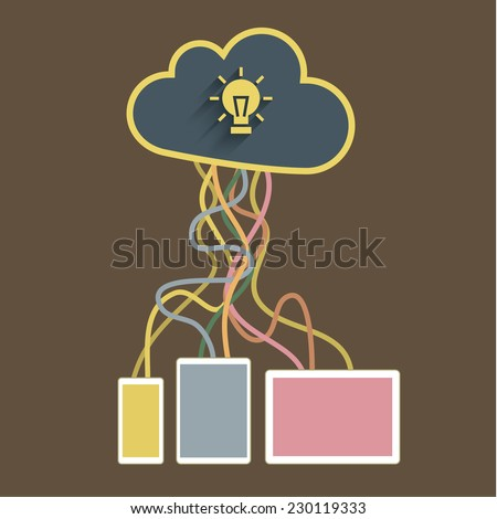 The cloud is connected to the mobile devices. Concept of  cloud service - stock vector