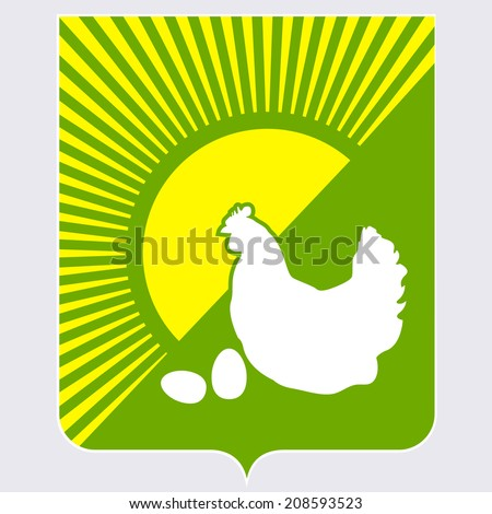 The coat of arms with a white chicken and eggs - stock vector