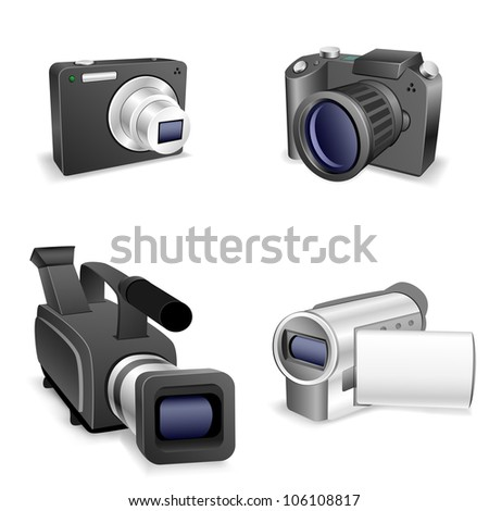 The collection of cameras isolated on a white background - stock vector
