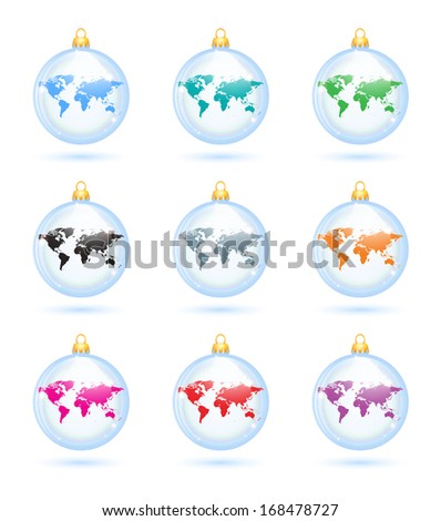 The collection of christmas decorations with map. - stock vector