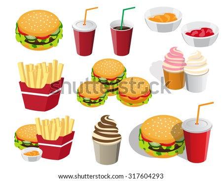 the collection of icons is not the topic of food for fast food - stock vector