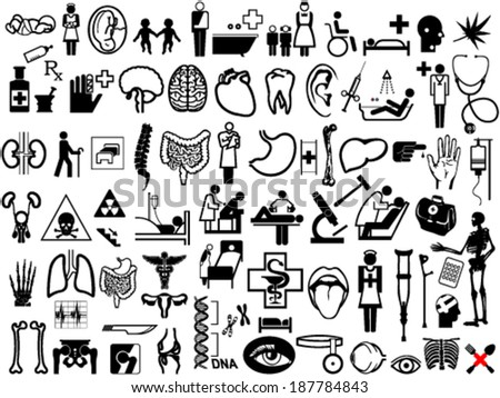 The collection of medical and anatomy icons - stock vector