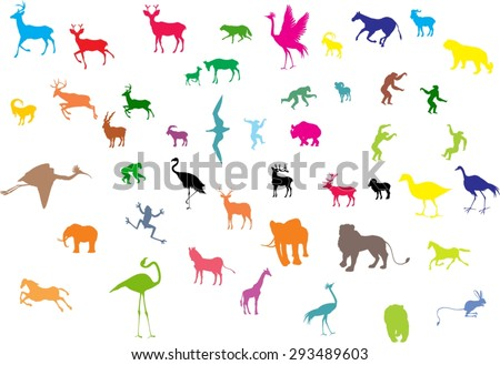 The colored silhouettes of different animals vector illustration. Isolated on white - stock vector