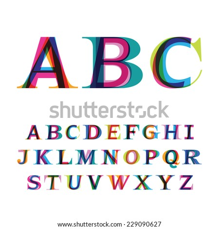 the colorful font consisting of three letters - stock vector