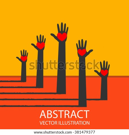 The Colorful Raised Hands With Heart For Volunteer and Voting  - stock vector
