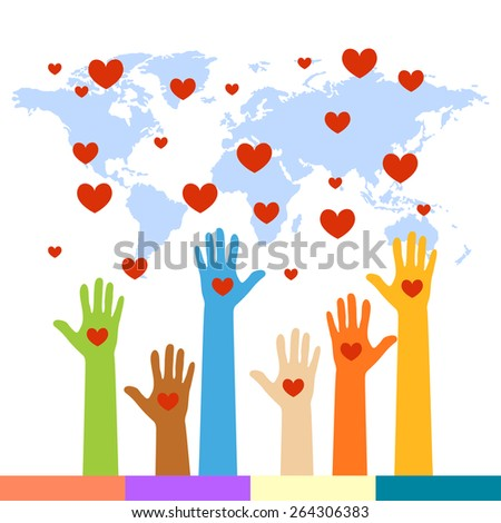 The Colorful Raised Hands With Heart For Volunteer and Voting Concept Isolated On White Background - stock vector