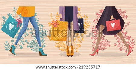 The colorful vector illustration of woman with shopping bags. Autumn and summer sales. For your design. - stock vector