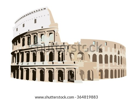 The Colosseum in Rome, Italy - stock vector
