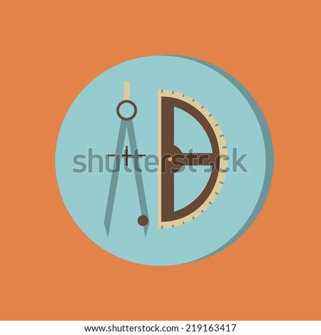 the compass and protractor. characters geometry. Education sign. symbol icon drawing and geometry - stock vector
