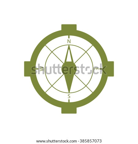 The compass icon. Compass symbol.icon, vector illustration. Flat design style. - stock vector