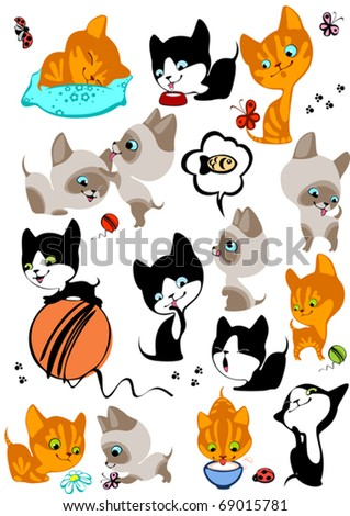 The complete set of different cheerful kittens. Similar in a portfolio - stock vector