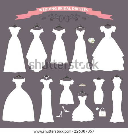 The composition of Different styles of wedding dresses made in modern flat vector style.Composition with handbag, high heel shoes on grey background. Fashion  bridal vector Illustration  - stock vector