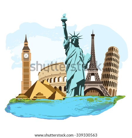 The composition of the famous landmarks - stock vector
