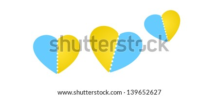 The composition of three blank heart shapes with perforation / hearts with perforation - stock vector