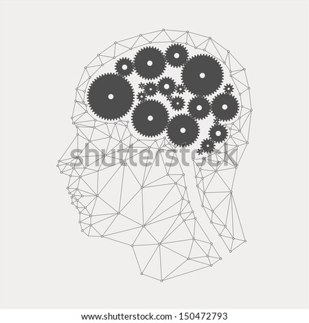 The concept of brain gears - stock vector
