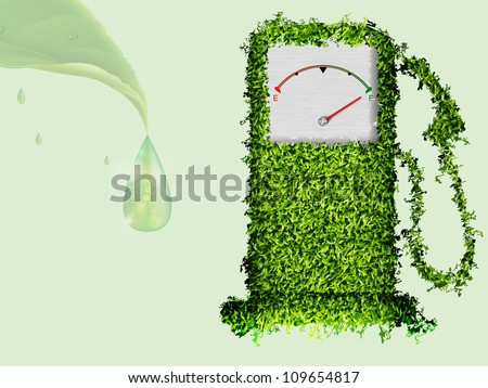 the concept of ecological fuel. Green fuel pump out of the grass - stock vector