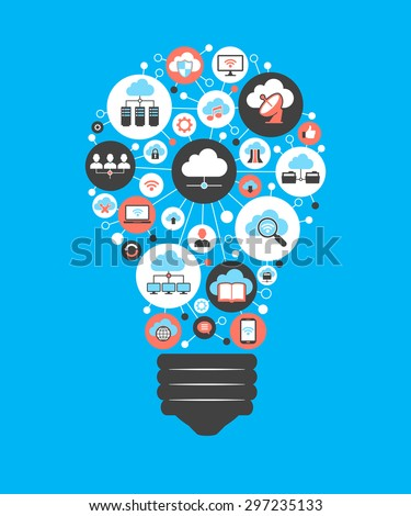The concept of effective cloud computing. Light bulb with cloud computing icon - stock vector