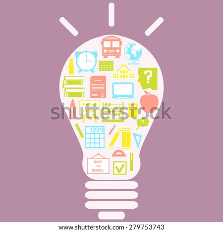 The concept of effective education. Light bulb with colorful education icon. Vector illustration. - stock vector