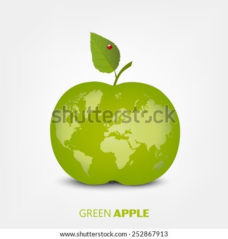 The concept of globalization, world map on a green apple. Vector illustration, modern template design - stock vector
