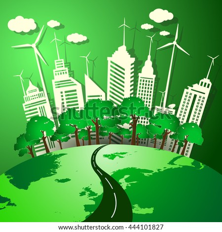 The concept of green energy from natural environmentally friendly. - stock vector
