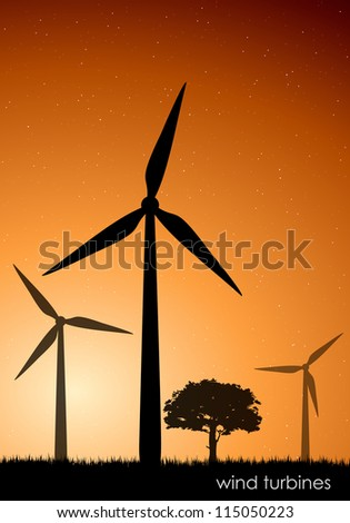 The concept of green energy. vector wind turbines - stock vector