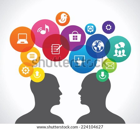 The concept of human communication in the global computer network. two silhouettes of people's heads surrounded interface icons. . This image contains transparency. - stock vector