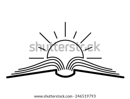 The concept of the book pages and sun. - stock vector
