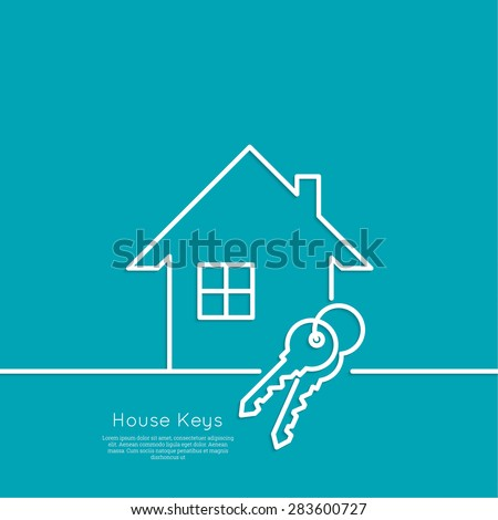 The concept of the house turnkey. Icon home and keychains. flat design. minimal. outline. - stock vector