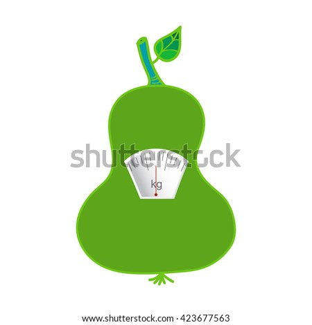 The concept of weight loss, healthy lifestyles, diet, proper nutrition. Fruit and scales. Vector - stock vector