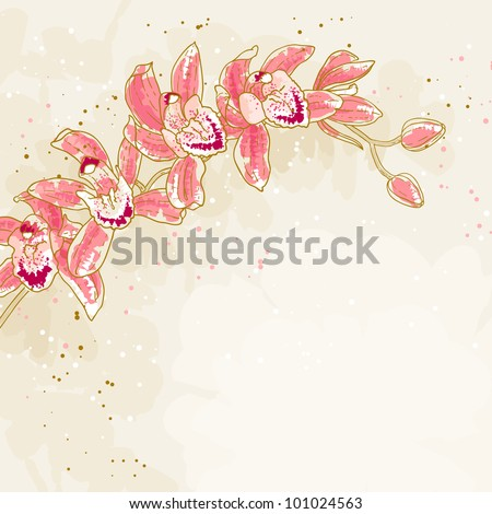 The contour drawing orchids flower. Can be used as background for invitation cards. - stock vector