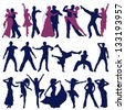 The contours of dancing people, men, women and couples - stock vector