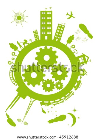 The contours of the green planet on a white background. Within the mechanism of the planet gears. - stock vector