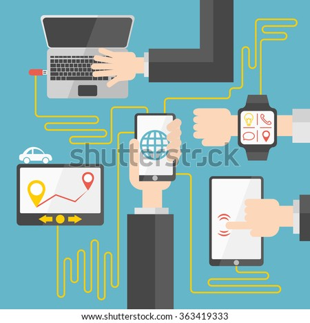The convergence and synchronization between your phone and other internet-enabled devices: laptop, tablet, navigator and smart-watch - stock vector