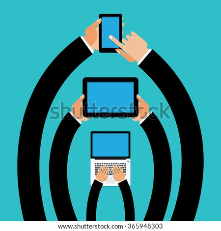 The convergence and synchronization between your phone and other internet enabled devices laptop, tablet - stock vector