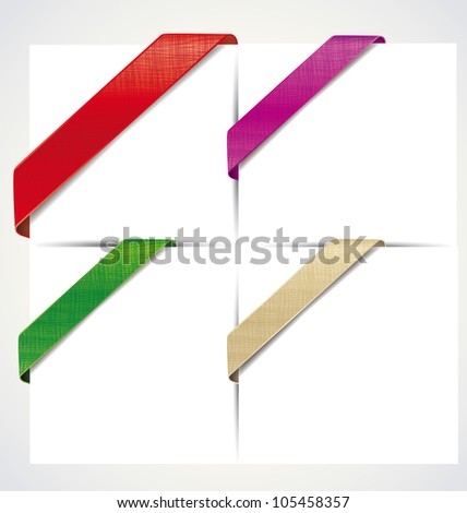 the corner colored ribbons on a white background - stock vector
